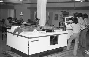 Final test of an Ausonics Octoson before shipping (1987)