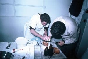 Ian Shepherd, Jack Jellins working on breast target, Royal North Shore Hospital (1969)