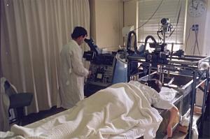 Brian Hill operating Mark II breast scanner, RNSH (1977)
