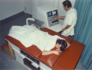 George Radovanovich scanning Kaye Griffiths with the Research Octoson, RHW (1975)