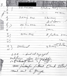 Notebook entry for first echogram (1962)