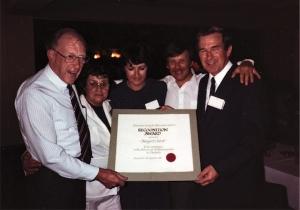 Prof Tom Reeve, Mrs Margaret Tabrett, Ms Kaye Griffiths, Dr George Kossoff, Dr John McCaffrey (ASUM President) (1984)
