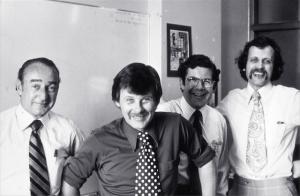 Paul Trainor (Chairman, Nucleus), George Kossoff, Dave Robinson, Keith Daniel (CEO, Ausonics) (1986)