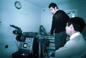 Ian Shepherd, Jack Jellins doing transducer lineup on breast scanner, Royal North Shore Hospital (1969)