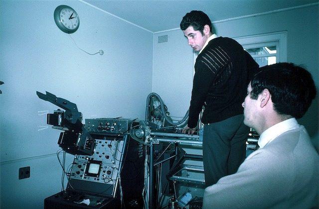 Ian Shepherd, Jack Jellins doing transducer lineup on breast scanner, Royal North Shore Hospital (1969)