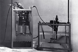 Equipment used to calibrate therapeutic ultrasound instruments using float method (1962)