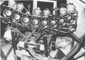 Research Octoson scan arm with 8 transducers (1974)
