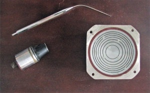 Selection of transducers developed at UI - Meniere's, contact and 80mm Octoson annular array