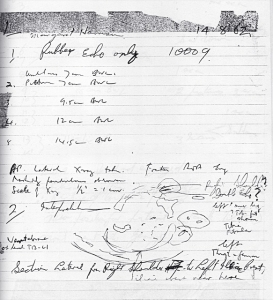 Notebook entry for early echogram (1962)