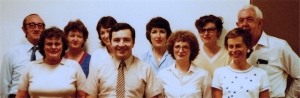 DMU Board of Examiners (1978). Back row: Dr Jim Ryan, Ms Clare State, Ms Pam Craig, Ms Kaye Griffiths, Ms Susan Joels, Dr Peter Verco. Front: Mrs Margaret Tabrett, Dr Jack Jellins, Mrs Sue Davies, Ms Sue Duffield.