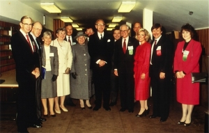 "ASUM and WFUMB Councils at the 1985 WFUMB Congress in Sydney. From left: Dr ""Tommy"" Thompson, Prof Tom Reeve, Mrs Mary-Jo Reeve, Mrs Nancy Garrett, Prof Barry Goldberg, Lady Stephen, Dr David Robinson, Sir Ninian Stephen (Governor General of Australia), Dr Jack Jellins, Dr Bill Garrett, Dr Christopher (""Kit"") Hill, Dr Marjorie Kossoff, Dr George Kossoff, Ms Maureen Varga."