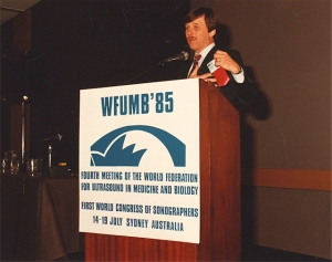 Dr. George Kossoff speaking at WFUMB'85 Sydney.