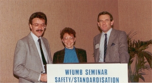 Drs Stan Barnett, Dave Carpenter and Ms Sandy Barnstable at WFUMB Standardisation and Safety Symposium (1985)