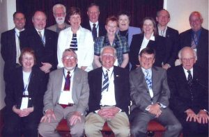 Presidents of the Society (S) and the Ultrasonographers Group (UG) (1990) Back row: Dr. David Rogers (S), Dr. Glen McNally (S), Mr. Michael Dadd (S), Dr. Sue Woodward (S), Dr. Peter Warren (S), Mrs. Sue Davies (UG), Ms Kaye Griffiths AM (UG), Ms Maureen Varga (UG), Dr. David Carpenter (S), Mr. Roy Manning (UG). Front row: Dr. Beverley Barraclough (S), Dr. David Robinson AM (S), Dr. William Garrett AM (S), Dr. George Kossoff AO (S), Prof. Thomas Reeve AC, CBE (S).